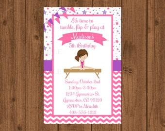 Gymnastic Birthday Party Invitation, Gymnastics Party, Printable Gymnast Invitation