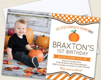 Pumpkin Party Photo Invitations - Professionally printed *or* DIY printable