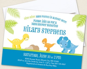 Dinosaur Baby Shower Invitations - Professionally printed *or* DIY printable
