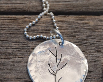 """Sterling Silver hammered Disc with Tree cut into Silver 18"""" on Ball Chain sterling NECKLACE"""