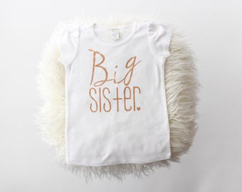 """Rose gold and white """"Big Sister"""" girl fit t-shirt 