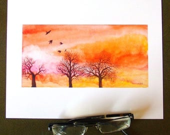 Halloween Trees sunset crows watercolor print - fine art print on archival paper