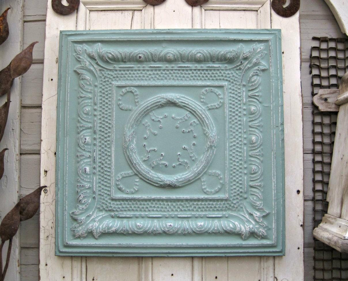 antique ceiling tin tile framed large turquoise metal wall. Black Bedroom Furniture Sets. Home Design Ideas