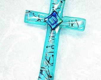 Aqua Dichroic Fused Glass Cross Ornament,  Green Blue Cross Suncatcher, Cross Turquoise Cross, Art Glass Cross Turquoise Christmas Ornament
