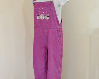 Pink Small Bib OVERALL Pants - Fuchsia Pink Dyed Upcycled Christopher & Banks Cotton Denim Overalls - Adult Womens Size Small (34 W x 28 L)
