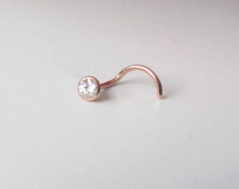 Tiny Cubic Zirconia in Solid Rose Gold Nose Stud, 2mm Clear Zircon Bezel Set in 14k Solid  Gold Nose Screw or Single Earring