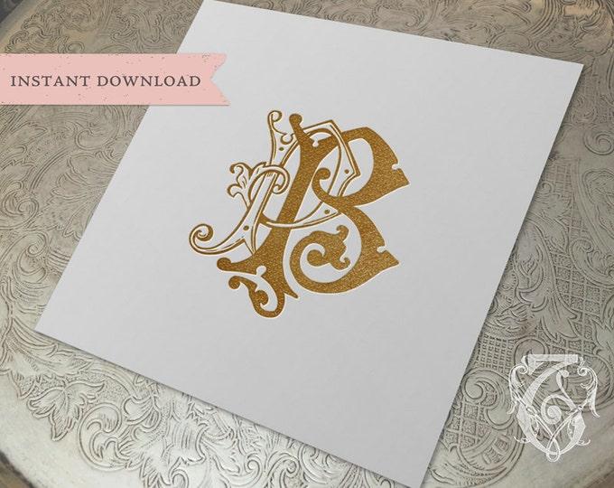 Vintage Wedding Monogram PB Digital Download P B