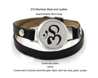 Essential Oil Diffuser Leather Wrap Bracelet with Om Symbol