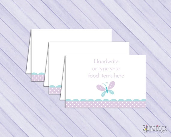 Printable Butterfly Baby Shower Food Tent Labels Cards Or Place