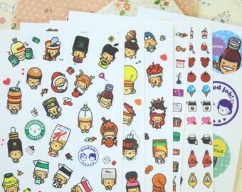 Hat Kids cartoon children & food diary stickers