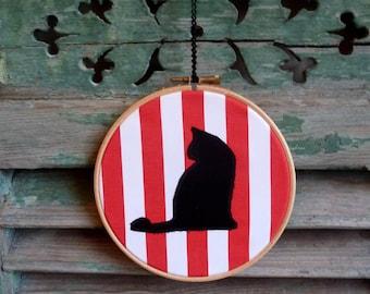 Cat Silhouette, Red Stripes, Applique Wall Decor, Original Handmade Hoop Art