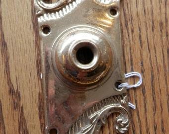 antique cast brass door bell button plate circa 1900s