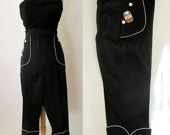 "Cute 1950's ""Peddle Pushers"" Dead Stock Classic vintage black with white piping Rockabilly VLV Pinup Girl size Medium"