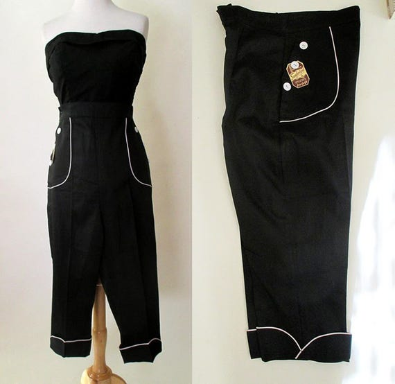 """Cute 1950's """"Peddle Pushers"""" Dead Stock Classic vintage black with white piping Rockabilly VLV Pinup Girl size Medium"""