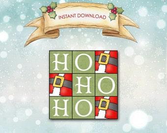 """Xmas Tag / Ho Ho Ho / Large 3"""" Square Tag / Santa Claus / Red, Green White / Holiday Christmas / DIY Instant Download / Gift Tag Hang Tag"""