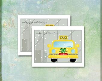 NYC Taxi Cab Christmas Card / 10 Xmas Note Cards / New York City Skyline / Merry Christmas Happy Holidays / Yellow Cab / Modern Contemporary