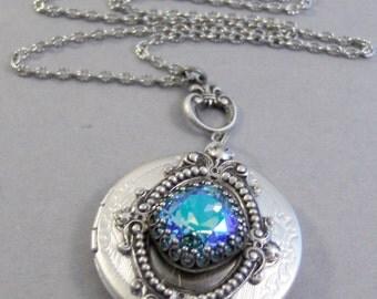 Twilight Mist,Blue Topaz Necklace,Blue Necklace,Antique Locket,Silver Locket,Princess Cut,December Birthstone,Birthstone,Valleygirldesig
