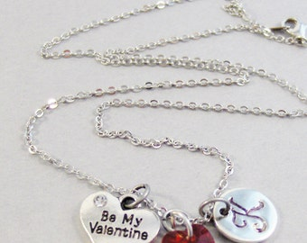 Be My Valentine Necklace,Valentine Necklace,Ruby Birthstone,July,Personalized Necklace,Custom Necklace,Monogram,Initial Necklace
