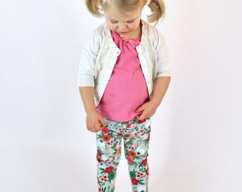 Leggings | Minty Blooms | Sizes 3 Months to 7/8 | Floral, toddler leggings, big girl leggings, mint, spring