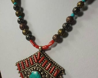 Stunning tribal necklace with large Tibetan pendant Turquoise and Coral natural stones