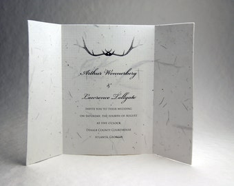 5x7 inch (folded) Custom Printed Invitations - Fern and Cotton Seed Paper Antlers set of 6