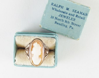 Vintage 14k Cameo Filigree Ring with Original Box, Size 2.5