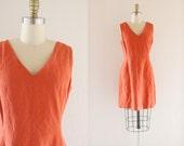 S A L E linen + silk dress / terra cotta