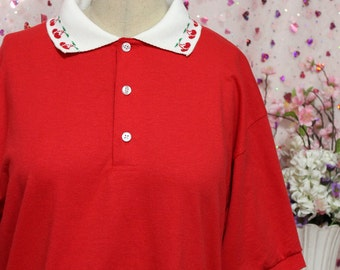 Kawaii Decorative Heart or Cherry Collar Polo NO PATCH - Pink and Red Custom Made