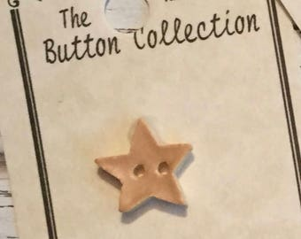 Ceramic Star Button, Old Gold, Matte Finish, Hand Painted, Mill Hill Button, 2 Hole, Sewing, Crafting, Cross Stitch, Embellishment