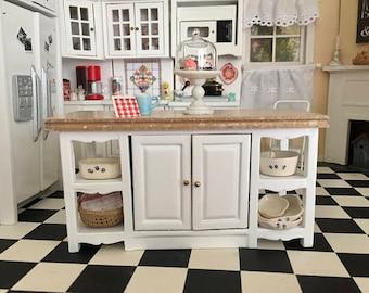 Miniature Center Island, Marble Look Top, Side Shelves, 2 Door Island Table, Dollhouse Miniature Furniture, 1:12 Scale