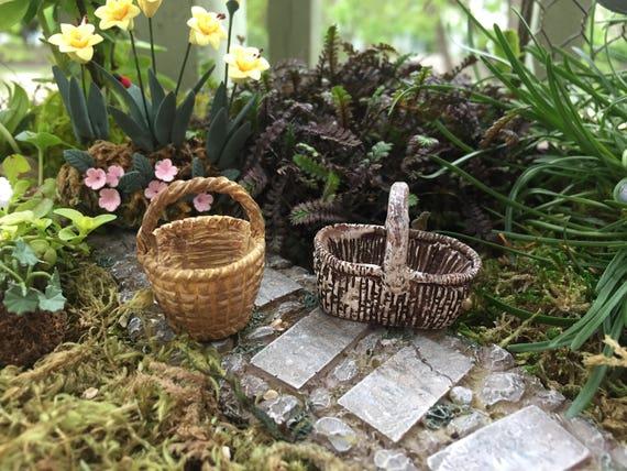 Mini Baskets, Resin Baskets, Set of 2, Fairy Garden Accessory, Miniature Home & Garden Decor, Round and Oblong Baskets