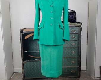 Vintage 1940's Woman's 2 pc Mint Green Wool Gabardine Suit- Classic Woman's Beautifully Tailored Suit- M