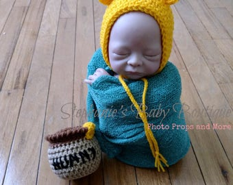 Ready to Ship, Crochet Newborn Baby Winnie the Pooh Bonnet and Honey Pot Set, Handmade, Photo Prop, Photography Prop, Shower Gift, Pooh Bear