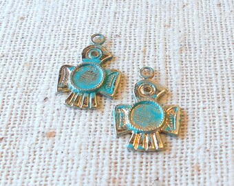 Hand Faux Bright Verdigris Patina Brass Thunderbird Charms (4) Southwest, Tribal, Nature