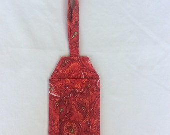 Luggage tag, red paisley, travel, destination wedding