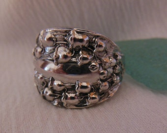 Lily of The Valley  Antique Spoon Ring  Sterling Silver Size 7.75
