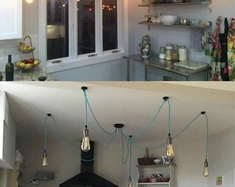 5 Pendant Swag Chandelier - Kithen Lighting Industrial Chandelier. Custom Hanging Pendants Modern Lighting
