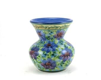 Blue Flower Vase - Small Decorative Ceramic Bud Vase -  Floral Design