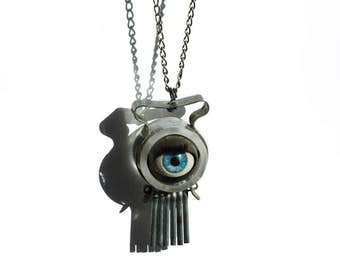 Antique SEEING EYE Pendant Necklace - Third Eye Vintage Mystical Jewelry - Industrial Steampunk Surreal Eyeball - Assemblage Fringe Necklace