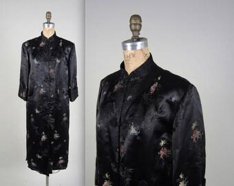 1940s cheongsam silk satin robe • vintage 40s robe • evening house coat