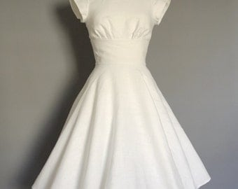 UK Size 10 Ivory Linen Tea Dress with Circle Skirt - Made by Dig For Victory