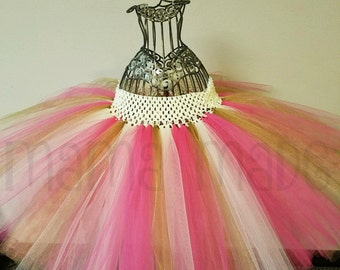Fuchsia and Ivory Tutu with Gold Shimmer Tulle Pink and Gold Tutu Ivory and Gold Tutu Gold Flower Girl Tutu Ivory and Gold Flower Girl