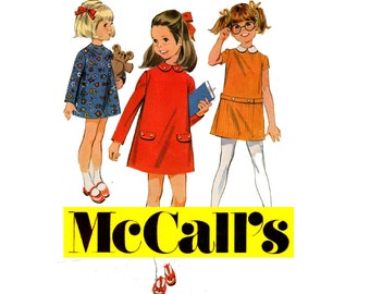 60s Mod Girls Mini Dress Pattern McCall's 2056 Vintage Sewing Pattern Size 5