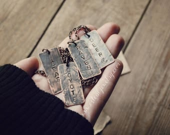 Custom Wildlife Necklace - hand stamped pendants