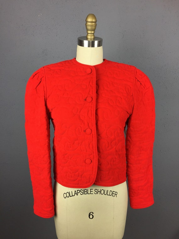 Red Corduroy Quilted Jacket