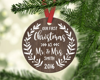 Personalized Wedding Gift for Couple First Christmas Ornament Married First Christmas Wedding Ornament Personalized Christmas Ornaments