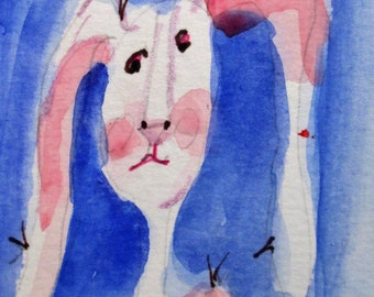 Long Eared Bunny Aceo artist trading card original miniature watercolor painting Art by Delilah