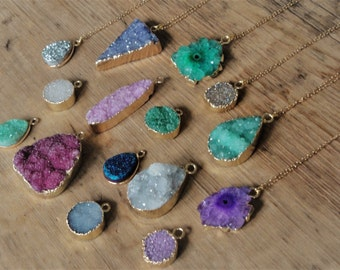 Druzy Necklace - Drusy or Geode on 14K Gold Filled Chain. Geode Necklace