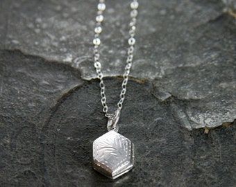 Unique Sterling Silver Locket Necklace, Tiny Engraved Hexagonal Pendant - A Diamond Dangle