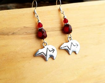Red Zuni Bear Sterling Silver Earrings, Red Zuni Bear Sterling Earrings, Zuni Bear Earrings, Red Bear Earrings